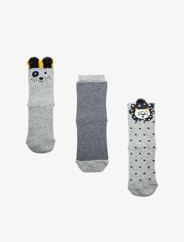 Koton Kids 3'lü Erkek Çocuk Çorap Gri